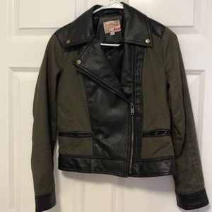 Olive green leather accented coat